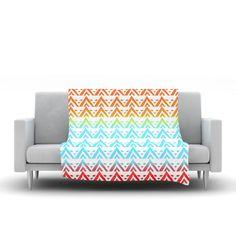 "Frederic Levy-Hadida ""Antilops Pattern"" Multicolor Chevron Fleece Throw Blanket"