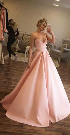 Unique Prom Dresses,Ball Gown Prom Dresses,Strapless Prom Dress,Pink Prom Gown,Long Evening Dress,Satin Evening Dresses #ballgown #pink #simole #prom #gown #okdresses