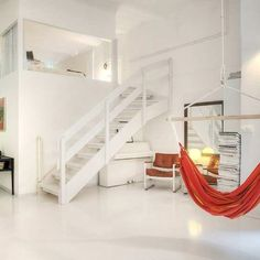 Love the all white with pop of color contrast. Love the hammock. Love lofts.