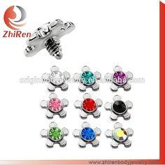 gem flower dermal anchor body jewelry body piercing