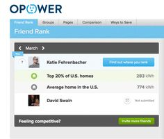 Opower enables Facebook users to compare their energy consumption with their peers and keep track of real energy data provided by a participating utility.
