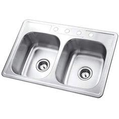 "Kingston Brass GKTD33226 33"" Drop In 22 Gauge Double Basin Stainless Steel Kitch Brushed Nickel Fixture Kitchen Sink Stainless Steel"