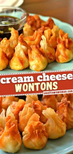 Get all your holiday entertaining done with this easy recipe! Even your tween can help you make these Cream Cheese Wontons. Stuffed with chicken, Pepper Jack, and a delicious blend of spices, these crispy, bite-sized treats are the perfect New Year party appetizer! Wonton Appetizers, Wonton Recipes, Best Appetizer Recipes, Yummy Appetizers, Appetizers For Party, Snack Recipes, Cooking Recipes, Appetizers With Cream Cheese, Potluck Recipes