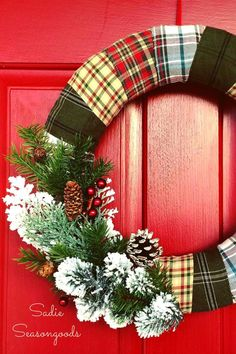 Wrapped Flannel Holiday Wreath   - CountryLiving.com
