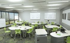Active learning classroom featuring Smith System Interchange Wing and Wing Swoop desks with Flavors Mobile Chairs. #collaborativeclassroom