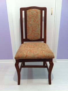 Vintage Wooden Retro Dining Chair. Fabric, upholstered and very comfortable.
