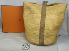 100% Authentic HERMES Straw Woven Saxo Bucket Tote Bag NEW With Box #Hermes #BucketToteBag