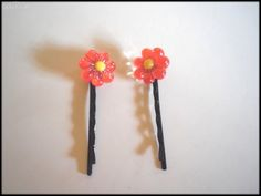 Daisy Flower Girls Black Bobby Pins(50mm)  by MadAboutIncense - $5.50