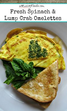 Fresh Spinach & Lump Crab Omelettes - YUM!