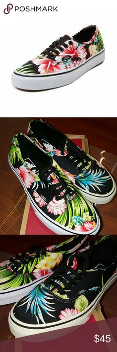 Vans Authentic Hawaiian Floral Skate Shoe Although new the left shoe was a display item. So the rubber outsole is a bit less white than the right shoe. Please see pictures.   We're wetting our plants for the new Authentic Hawaiian Floral Skate Shoe from Vans! The Floral Skate Shoe flaunts a low-top design with vibrant floral printed canvas uppers and contrasting lace closure.   Features include: > Durable canvas uppers with breathable lining > Front lace closure offers a secure fit > Padded…