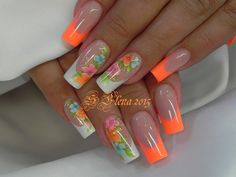Orange tips and flowerbnail designs Colorful Nail Designs, Acrylic Nail Designs, Cute Nail Designs, Colorful Nails, Neon Nails, Bling Nails, Fabulous Nails, Gorgeous Nails, Cute Nails