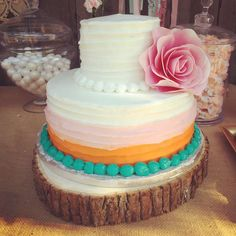 What a great cake at a boho chic birthday party! See more party ideas at CatchMyParty.com!