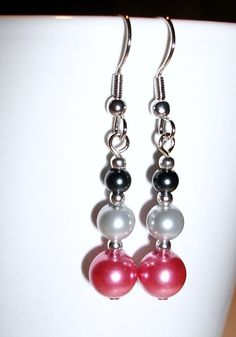 blackLIGHT  grey and pink dangle earrings by mwadsworth on Etsy, $1.25
