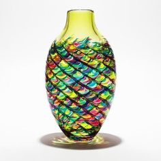 Michael Trimpol, Monique LaJeunesse Tall Flat Optic Rib Vase Lime, Turquoise and Cranberry with Lime Neck Art Glass Vase
