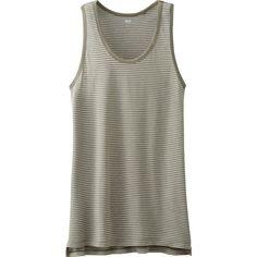 UNIQLO Women Modal Linen Striped Tank Top ($9.90) ❤ liked on Polyvore featuring tops, stripe tank, linen tank top, drape top, loose fit tank top and loose tops