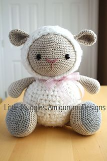This adorable sheep is sure to melt the hearts of anyone she meets! When made with the suggested materials, this doll is quite large, fluffy, and huggable - she makes the perfect cuddly companion! Consider making Cuddles as a baby gift, an Easter gift, or an anytime gift!!