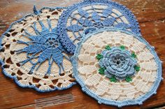 Vintage Potholder's SET (3) Crocheted  -  -  Bright White and Blue - 1950s Unused Cotton