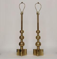 Stiffel pair of brass lamps