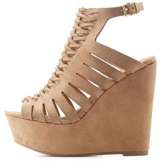 Charlotte Russe Braided Cut-Out Wedge Sandals ($36) ❤ liked on Polyvore featuring shoes, sandals, tan, peep toe wedge sandals, cage wedge sandals, braided wedge sandals, cut out sandals and tan wedge shoes