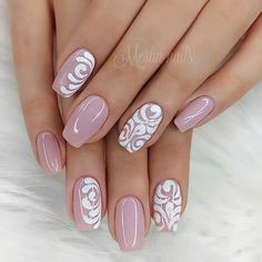 Want some ideas for wedding nail polish designs? This article is a collection of our favorite nail polish designs for your special day. Nail Art Designs, Nail Polish Designs, Acrylic Nail Designs, Nails Design, Salon Design, Almond Acrylic Nails, Almond Nails, Pink Nails, My Nails
