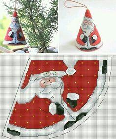 ♥Meus Gráficos De Ponto Cruz♥: Cone do Papai Noel e Mamãe Noel em Ponto Cruz