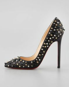 Christian Louboutin Pigalle Spikes Red Sole Pump, Black - Neiman Marcus