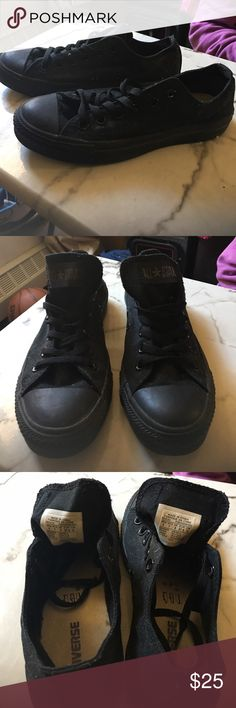 Converse sneakers All black sneakers. Only worn 3 times. Looking for a good home. Converse Shoes Sneakers