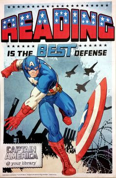 Captain America @ Your Library Reading is the Best Defense!