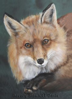 bbf93eb1174 This is an oil painting of a fox laying down.