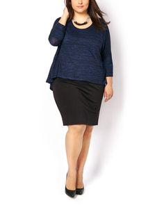 Go from desk to drinks with this stunning plus-size dress! Its layered design is composed of a fluid heather knit top with 3/4 sleeves and a flattering scoop neck and a fitted skirt made with stretchy ponte de Roma. Keep it cool and casual with trendy booties or dress it up with your favourite heels!