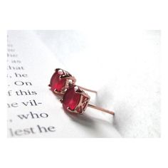 Gemstone Jewelry Gold Studs Vintage 18k Rose Gold Plated Ruby Studs,... (€46) ❤ liked on Polyvore featuring jewelry and earrings