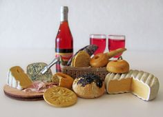Wine Bread Meat and Cheese Set    Miniatures for by OneSixthSense, $47.00