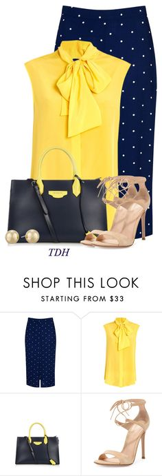 A fashion look from June 2016 featuring bow collar blouse, polka dot midi skirt and ankle strap high heel sandals. Browse and shop related looks. Nude High Heels, Ankle Strap High Heels, Yellow Shirts, Blue Polka Dots, Moschino, Balenciaga, Fashion Looks, Glamour, Navy