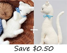 I bought this cat pattern to crochet some day. Crochet patterns of two cats.