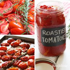 Oven Roasted Tomatoes 1 tbsp extra virgin olive oil 4 cloves garlic, peeled and thinly sliced 8 sprigs of fresh thyme 4 sprigs of fresh rosemary salt and freshly cracked pepper to taste 4 lbs plum tomatoes*. Oven Roasted Tomatoes, Real Food Recipes, Healthy Recipes, Homemade Tomato Sauce, Tomato Recipe, Good Food, Yummy Food, Plum Tomatoes, Garden Tomatoes