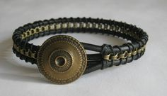 Leather and chain bracelet for men or boys in black and antique brass with button clasp, custom made for any wrist size. $20.00, via Etsy.