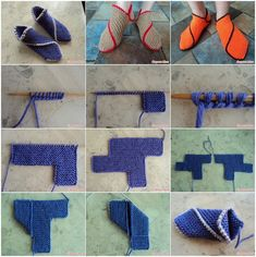 DIY Chipolino Garter Stitch Knitted Slippers | www.FabArtDIY.com