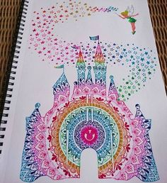 Beautiful Rainbow Mandala Disney Castle   By @ivanacoppola.art  by justartspiration