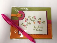 Love the 'tab' and ribbon on upper right corner. Colors are so summery.
