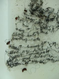 Hannah Lamb: Words that drift away - dissolving the embroidered text piece I made for Art in the Woods #fiber_art #text