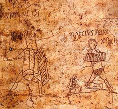 Roman graffiti | Gladiators were often immensely popular. In Pompei, graffiti on the walls often depict popular gladiators, such as these two thraeces, M. Attilius and L. Raecius Felix.