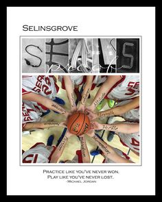 Team name SEALS is created in basketball themed Alphabet Art at www.kathystanczak.ca