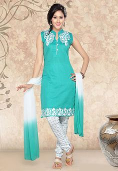 Turquoise Chanderi Cotton Readymade Churidar Kameez
