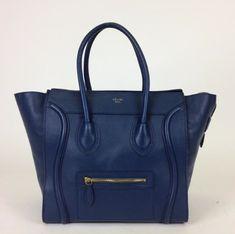 Celine Navy Blue Leather Mini Luggage Satchel
