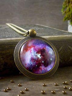 Galaxy pendant, Universe necklace, Pink purple nebula necklace, Galaxy necklace, Space lover gift, Antique brass glass dome pendant