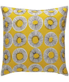 With a cheery yellow colour and a graphic, hand-drawn design, the Evelyn patterned cushion adds instant sunshine to a room. Buy now at Habitat UK. Yellow Cushions, Scatter Cushions, Cushions On Sofa, Throw Pillows, Round Cushions, Yellow Armchair, Velvet Cushions, Armchair Bed, Yellow Pattern