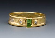 Demantoid Garnet and Diamond Ring by Marne Ryan