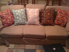 Pillows I made last year from precut pieces from the fabric store.