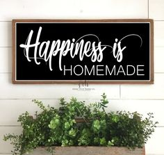 Happiness is homemade sign | painted wood sign | Farmhouse Decor | Above the couch sign | Free shipping to US | home wall decor