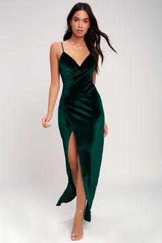 61cad8fbaa3 Debut Diva Forest Green Velvet Maxi Dress